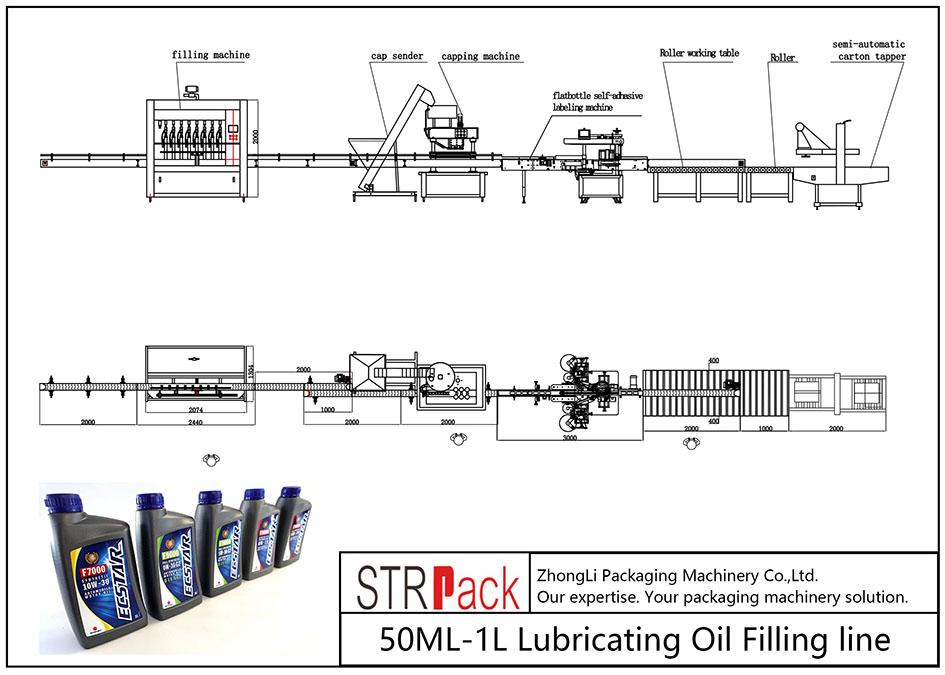 Automatisk 50ML-1L smörjoljepåfyllningslinje