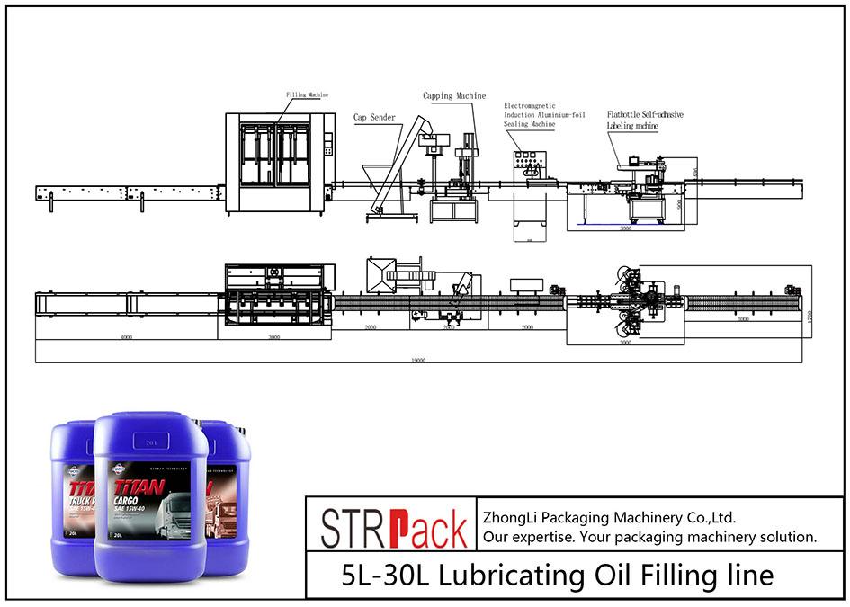 Automatisk 5L-30L smörjoljepåfyllningslinje