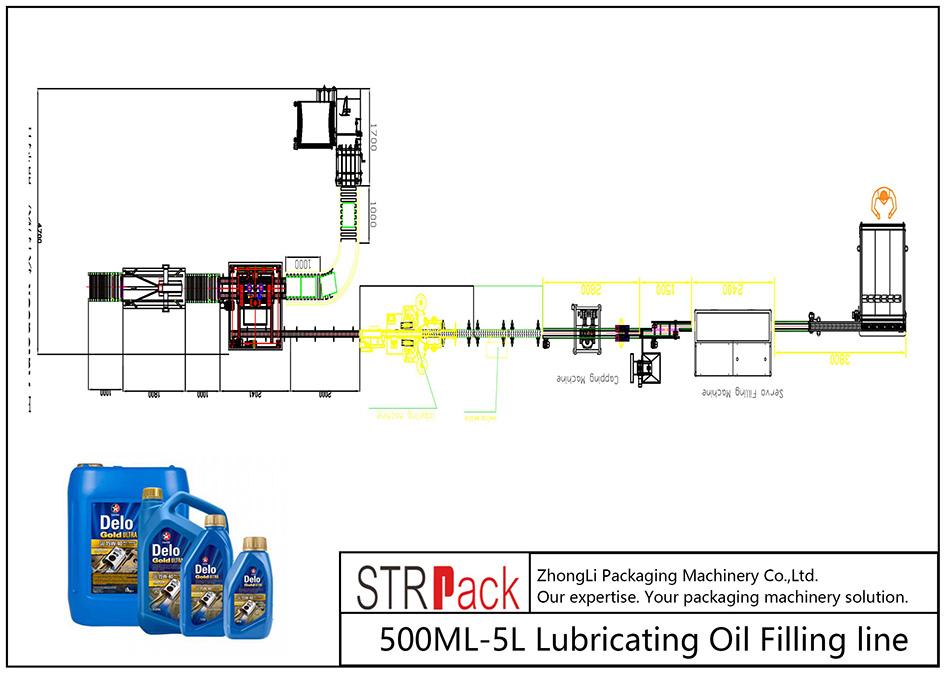 Automatisk 500ML-5L smörjoljepåfyllningslinje
