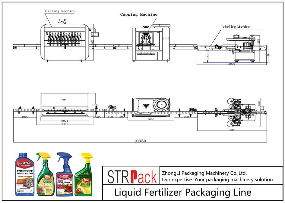 Förpackningslinje för automatisk flytande gödningsmedel
