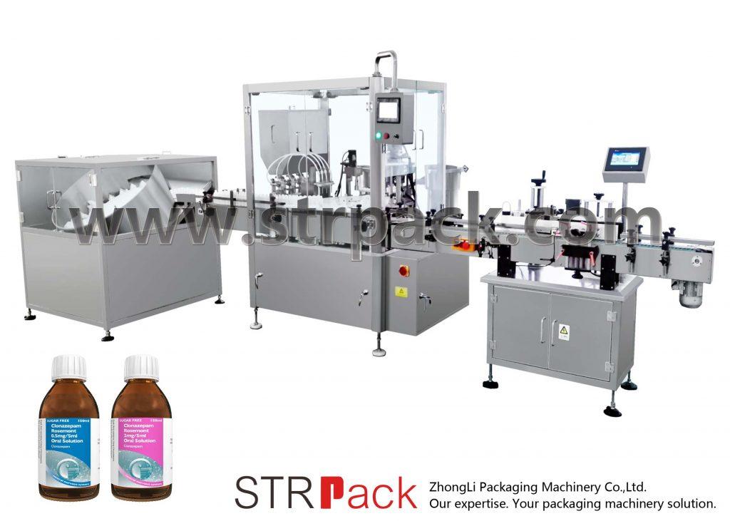 Maskin för fyllning och kapning av muntlig vätskesirap